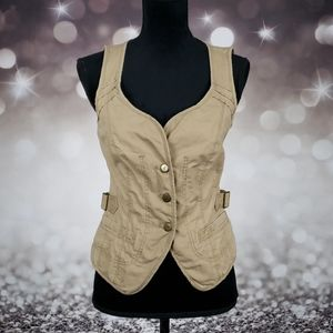 DKNY Jeans Sexy Small Tan Button Up Vest